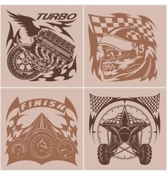 Auto racing emblems - Sport car logo vector image