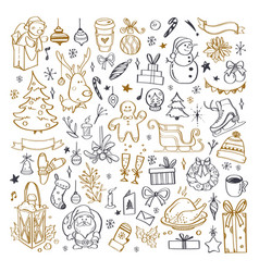 big set christmas design doodle elements 4 vector image
