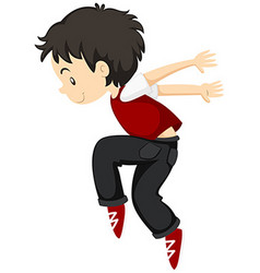 Boy doing breakdance alone vector