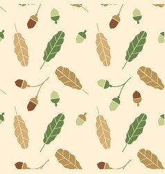 branchseamless pattern with acorns and autumn oak vector image