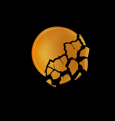 broken golden coin background vector image