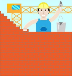 Builder builds a brick wall vector image vector image