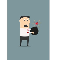 Businessman holding a lighted bomb vector