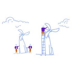 businessman twisting wind turbine tower energy vector image