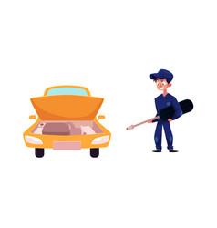 Car and mechanic with giant screwdriver vector