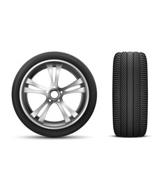car wheel front and side view vector image