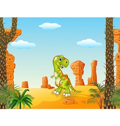 Cartoon Happy dinosaur with the desert background vector