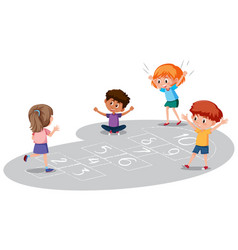 children playing hopscotch game vector image