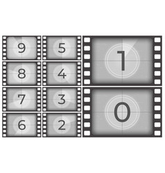 cinema film countdown old movie films strip frame vector image