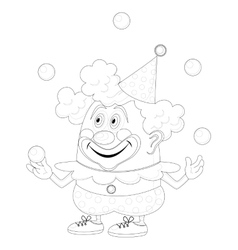 Circus clown juggling balls contour vector