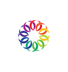 Colorful rainbow link circle chain design element vector