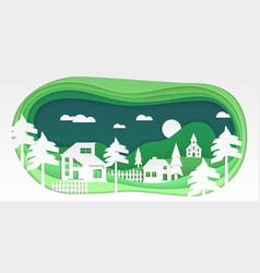 Country landscape - modern paper cut vector