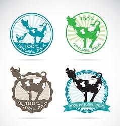 Cows label vector image vector image