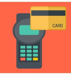Credit card terminal with cards vector
