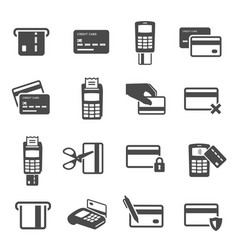 credit cards black glyph icons set vector image