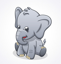 Cute baby elephant sitting and smiling vector