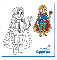 cute boy in prince charming costume outlined vector image