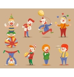 Cute Funny Clowns Different Positions and Actions vector image