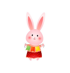 cute pink easter bunny with three colored flags in vector image