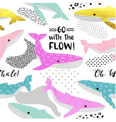 Cute whales seamless pattern childish marine vector