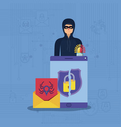cyber security with tablet and hacker vector image