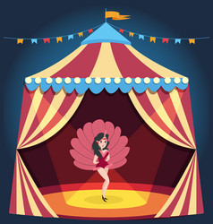 Dancing girl on circus arena entertaining show vector
