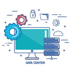 data center pc network server communication vector image