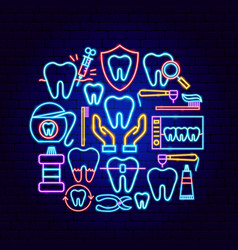 Dental neon concept vector