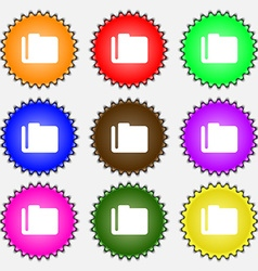 Document folder icon sign A set of nine different vector