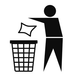 drop garbage bin icon simple style vector image