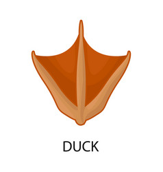 Duck and paw symbol set of vector