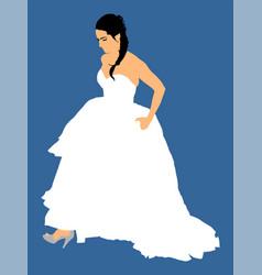 elegant bride on wedding day in wedding dress vector image