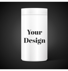 Empty white cylindrical box on the isolated vector image