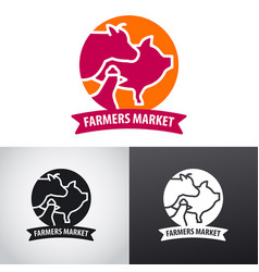 farm animals market logo vector image