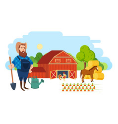 Farmer on agricultural plot engaged ennoblement vector
