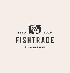 fish trade hipster vintage logo icon vector image