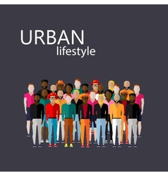 Flat male community with a large group guys vector