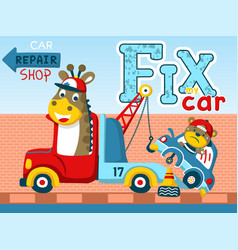 funny animals cartoon on vehicles tow truck car vector image