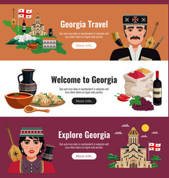 georgia tourism flat banners vector image
