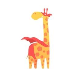 Giraffe Animal Dressed As Superhero With A Cape vector