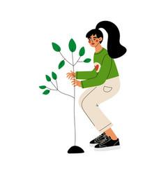 Girl gardening and planting seedling tree vector