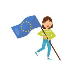 Girl holding national flag of european union vector
