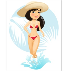 Girl in summer hat vector image