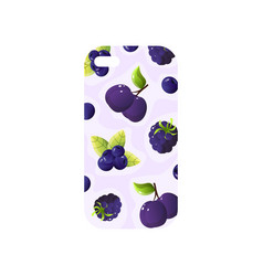 Girlish transparent phone cover with purple fruit vector
