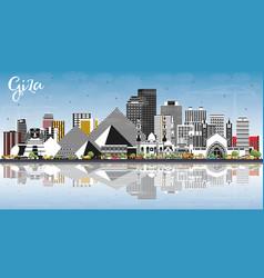 Giza egypt city skyline with gray buildings blue vector