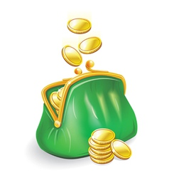 gold coins fall into a green purse vector image