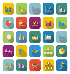 Graph color icons with long shadow vector image