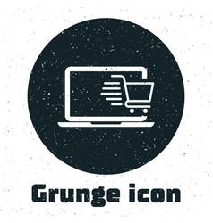 grunge shopping cart on screen laptop icon vector image