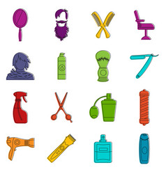 hairdressing icons doodle set vector image
