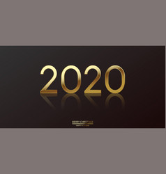 happy 2020 year card with glitter gold text vector image